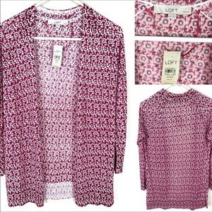 Loft floral pink and white thin sweater.